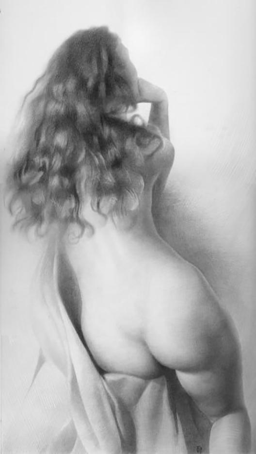 """Денис Чернов (Denis Chernov), рисунок, """"Модель в драпировке II"""""""