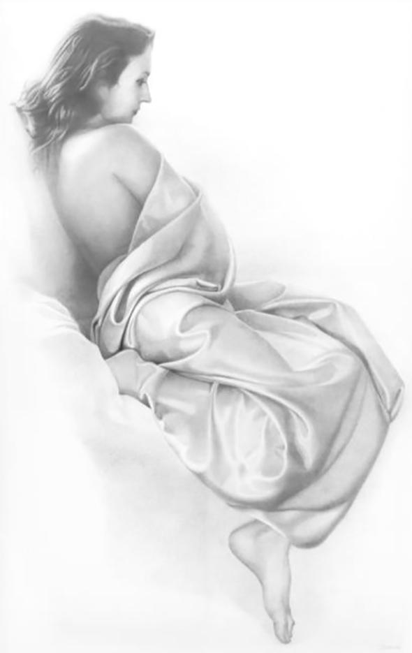"""Денис Чернов (Denis Chernov), рисунок, """"Модель в драпировке III"""""""