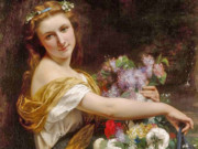"""Пьер Огюст Кот (Pierre Auguste Cot) """"Dionysia (Girl with flowers)"""""""