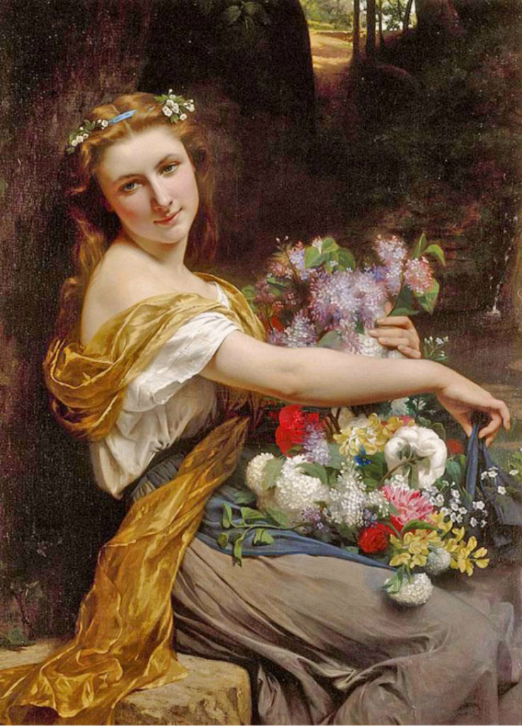 "Пьер Огюст Кот (Pierre Auguste Cot) ""Dionysia (Girl with flowers)"""