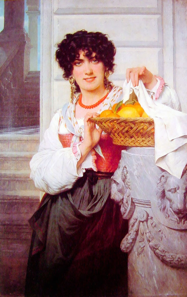 "Пьер Огюст Кот (Pierre Auguste Cot) ""Girl with Basket of Oranges and Lemons"""