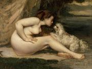 """Гюстав Курбе (Gustave Courbet), """"Обнаженная с собакой"""""""