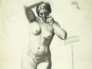 """Гюстав Курбе (Gustave Courbet), """"Стоящая обнаженная женщина, эскиз и этюд"""""""