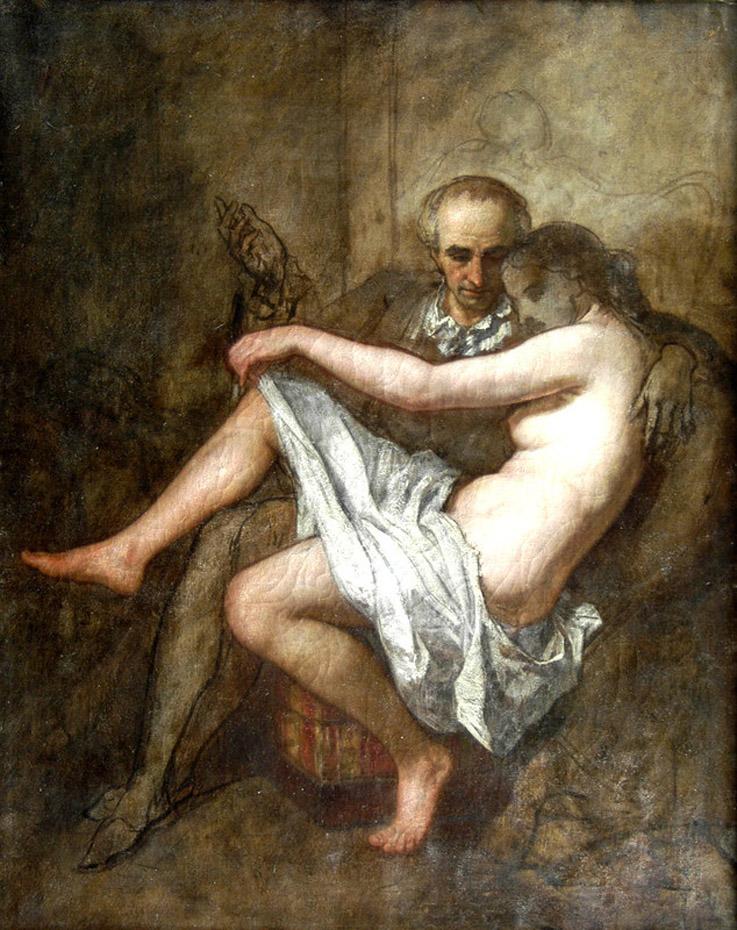 Тома Кутюр (Thomas Couture), одной из своих любовниц на коленях