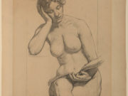"Кеньон Кокс (Kenyon Cox) ""Study drawing shows the allegorical figure of Romance nude"""