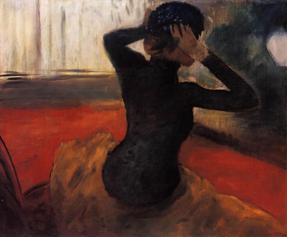 """Эдгар Дега (Edgar Degas), """"Женщина, примеряющая шляпу"""""""