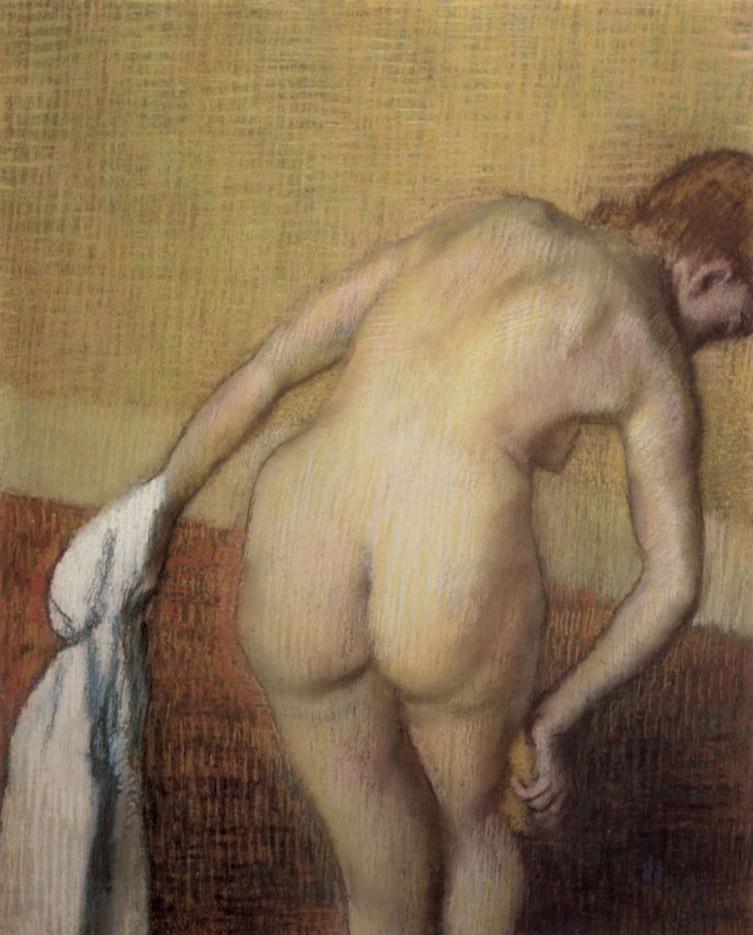 """Эдгар Дега (Edgar Degas), """"Обнаженная со спины с полотенцем и губкой"""""""