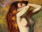 """Эдгар Дега (Edgar Degas), """"Обнаженная женщина в синем халате"""""""
