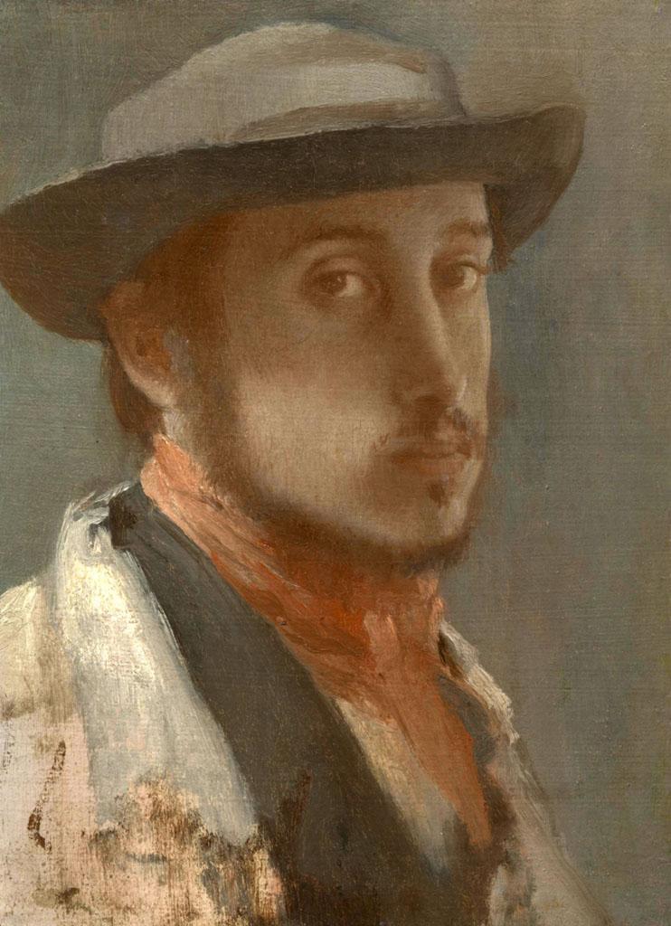 """Эдгар Дега (Edgar Degas), """"Автопортрет в мягкой шляпе"""""""