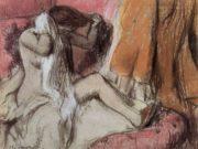 """Эдгар Дега (Edgar Degas), """"Сидящая в шезлонге и вытирающаяся женщина"""""""