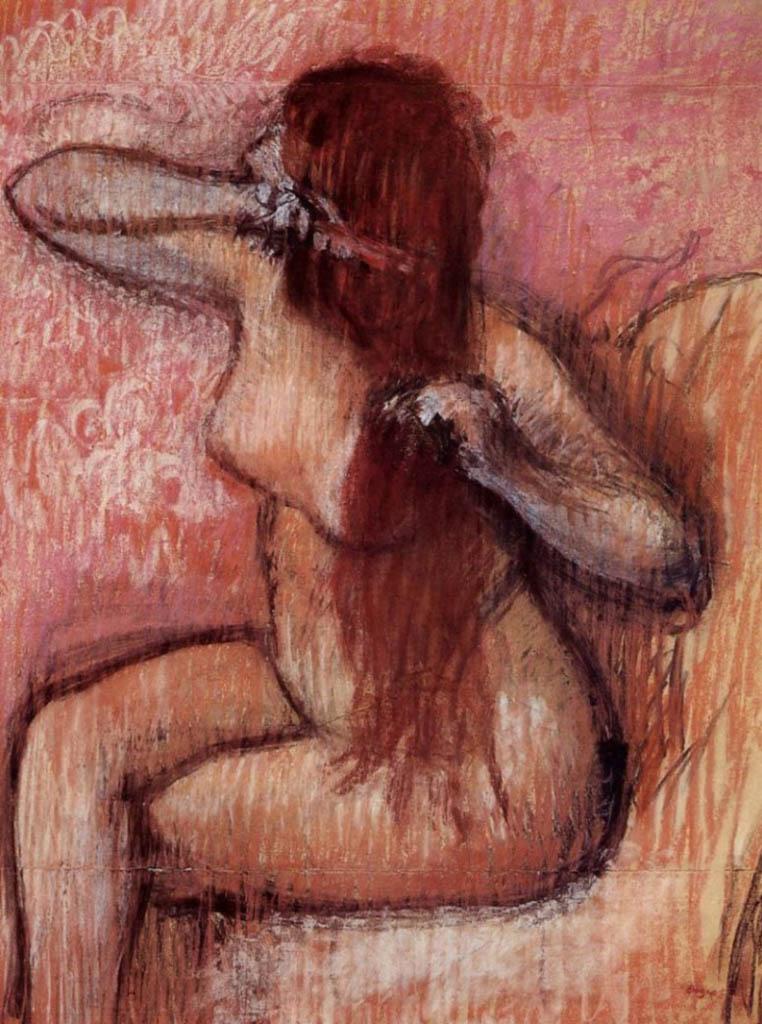 """Эдгар Дега (Edgar Degas), """"Сидящая обнаженная, расчесывающая волосы (2)"""""""