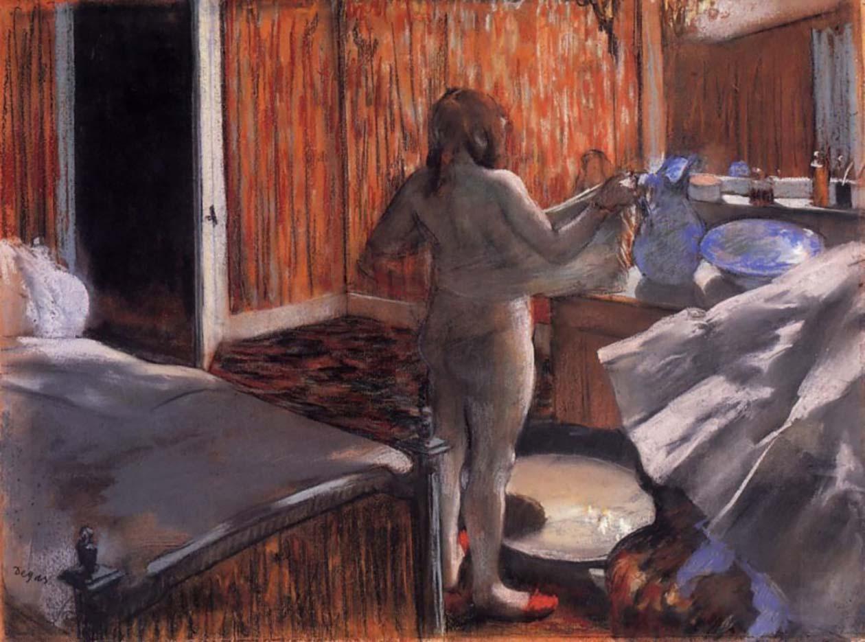 """Эдгар Дега (Edgar Degas), """"Женщина, вытирающаяся после купания"""""""