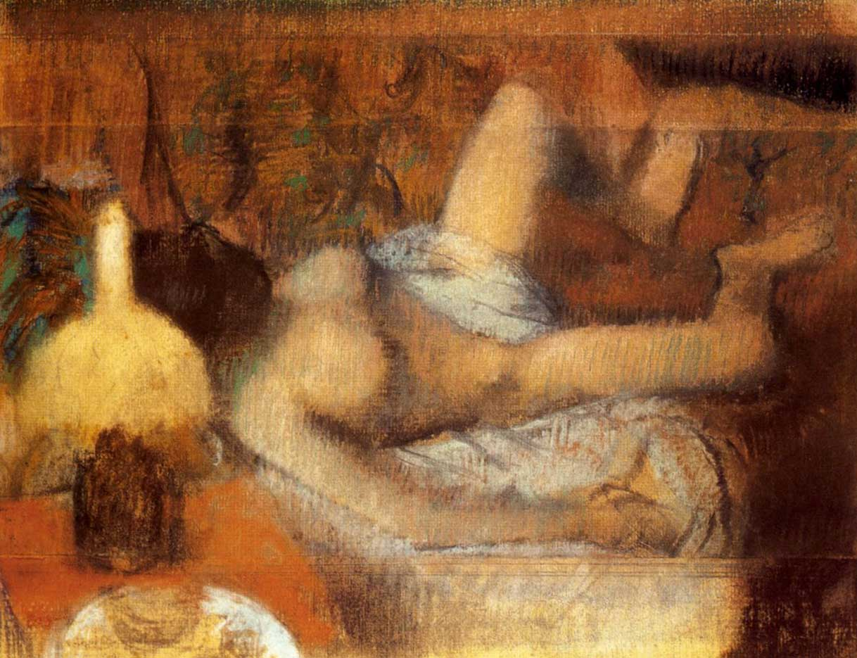 "Эдгар Дега (Edgar Degas), ""Обнаженная на кровати"""