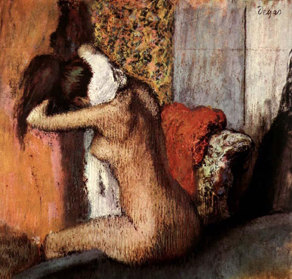"""Эдгар Дега (Edgar Degas), """"После ванны, женщина вытирает затылок"""""""