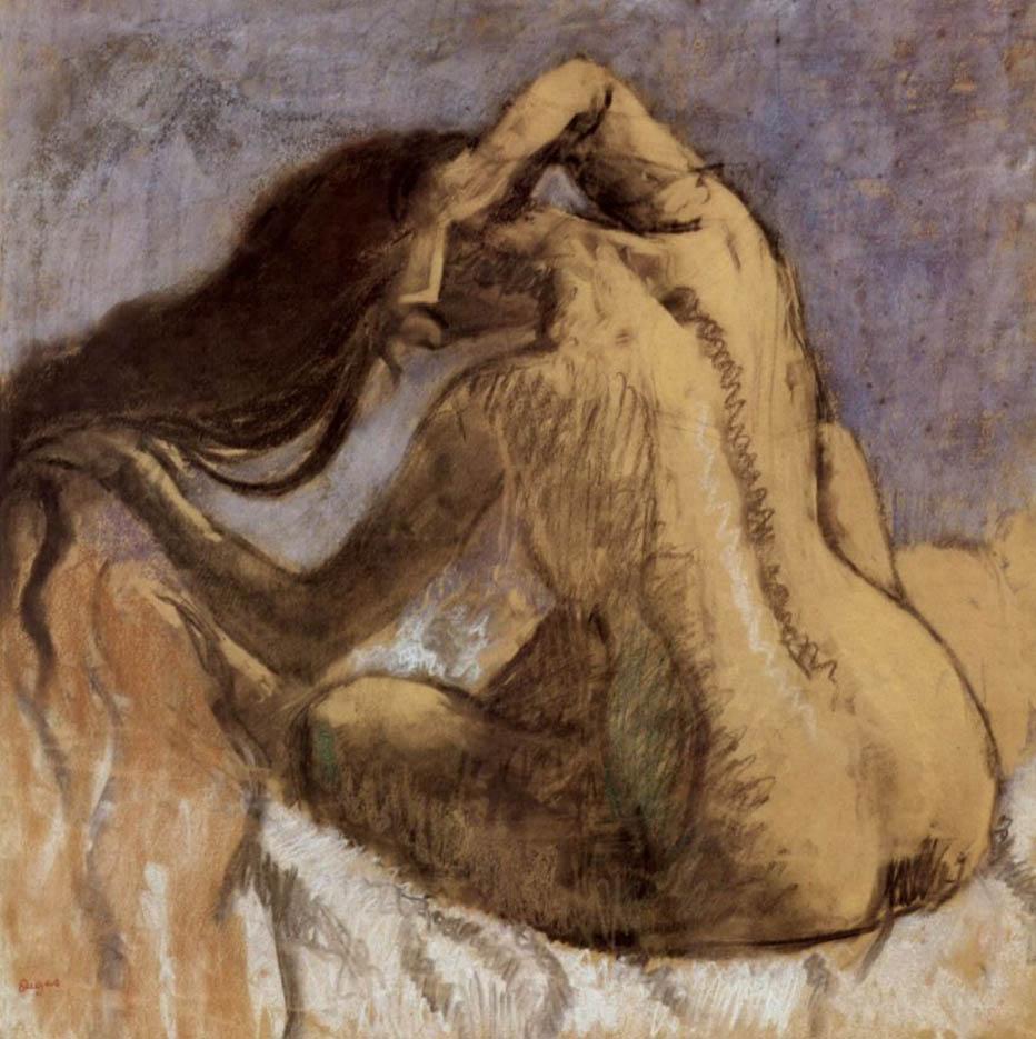 """Эдгар Дега (Edgar Degas), """"Сидящая спиной обнаженная, расчесывающая волосы"""""""