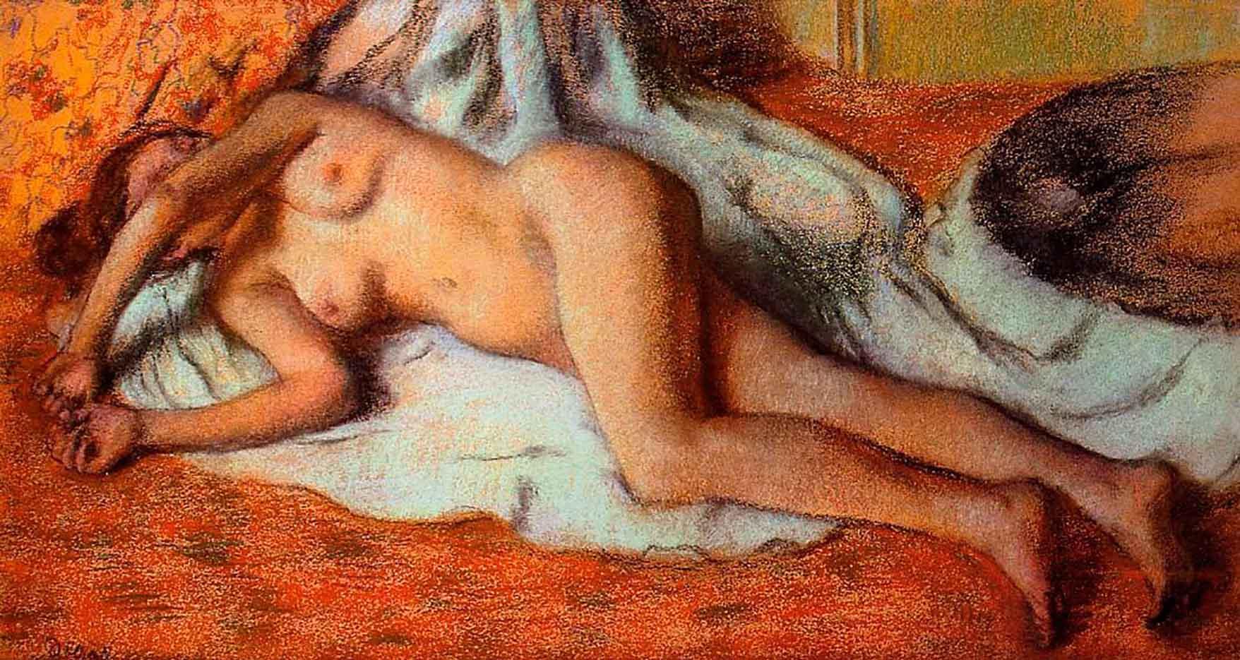 """Эдгар Дега (Edgar Degas), """"После ванны. Лежащая обнаженная"""""""