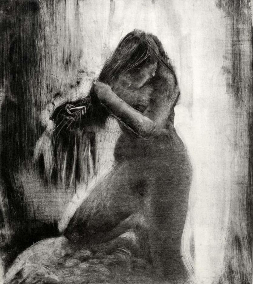 "Эдгар Дега (Edgar Degas), ""Подстригание волос"" (Drawings)"