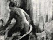 "Эдгар Дега (Edgar Degas), ""Стоящая в ванне, фигура со спины"" (Drawings)"