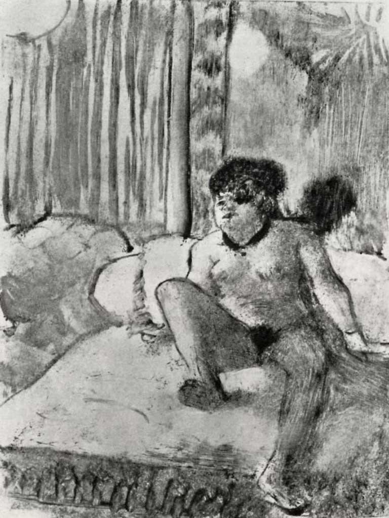 """Эдгар Дега (Edgar Degas), """"Отдых на постели"""" (Drawings)"""