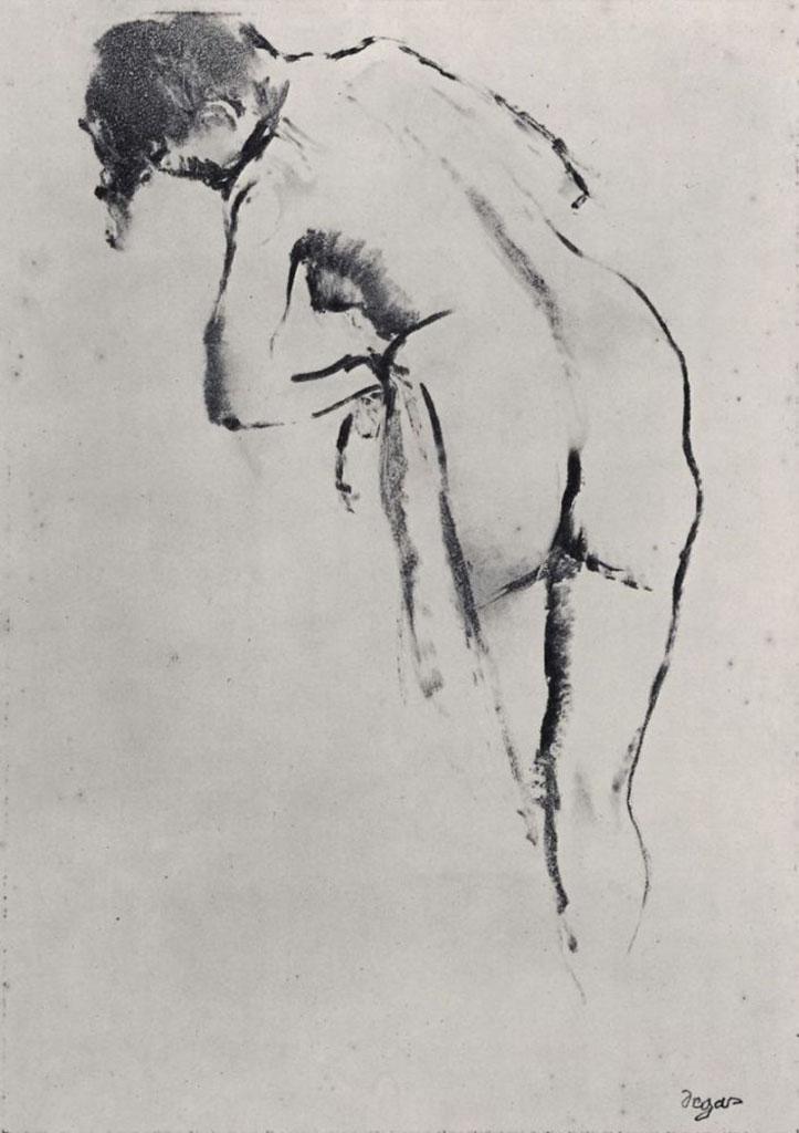 """Эдгар Дега (Edgar Degas), """"Стоящая обнаженная за туалетом"""" (Drawings)"""