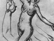 """Эдгар Дега (Edgar Degas), """"Лист с этюдами рук и идущей обнаженной"""" (Drawings)"""