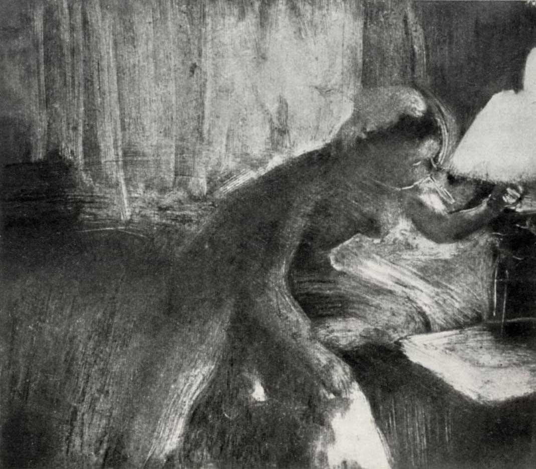 """Эдгар Дега (Edgar Degas), """"Женщина, гасящая лампу"""" (Drawings)"""