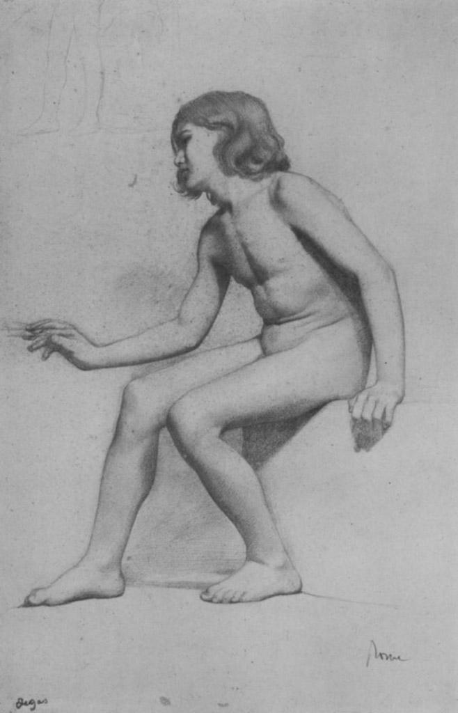 """Эдгар Дега (Edgar Degas), """"Сидящий обнаженный мальчик"""" (Drawings)"""