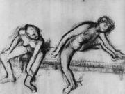 """Эдгар Дега (Edgar Degas), """"Две обнаженные балерины на скамейке"""" (Drawings)"""
