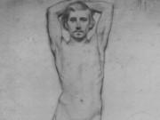 "Эдгар Дега (Edgar Degas), ""Натурщик со скрещенными за головой руками"" (Drawings)"