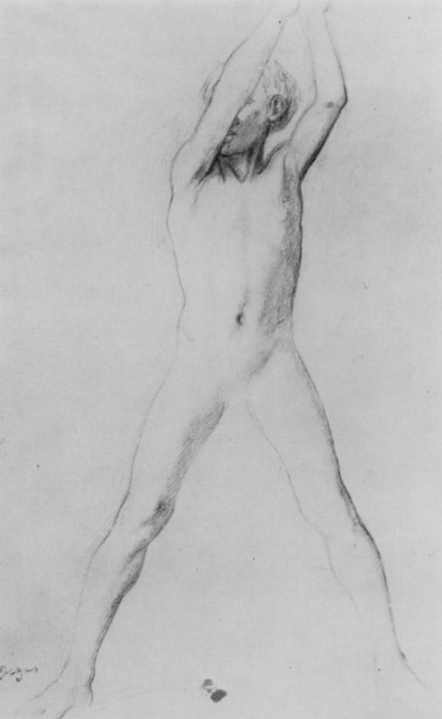 """Эдгар Дега (Edgar Degas), """"Обнаженный мальчик с поднятыми руками и расставленными ногами"""" (Drawings)"""