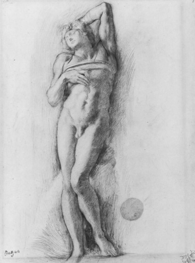 """Эдгар Дега (Edgar Degas), """"Этюд фигуры с Микеланджело Умирающий раб"""" (Drawings)"""