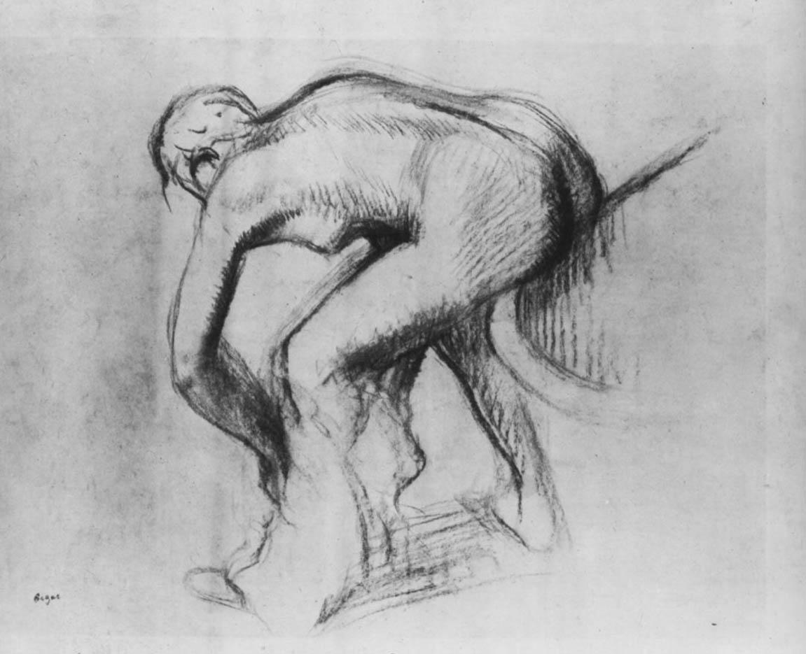 """Эдгар Дега (Edgar Degas), """"Обнаженная на краю ванны, вытирающая ноги (2)"""" (Drawings)"""