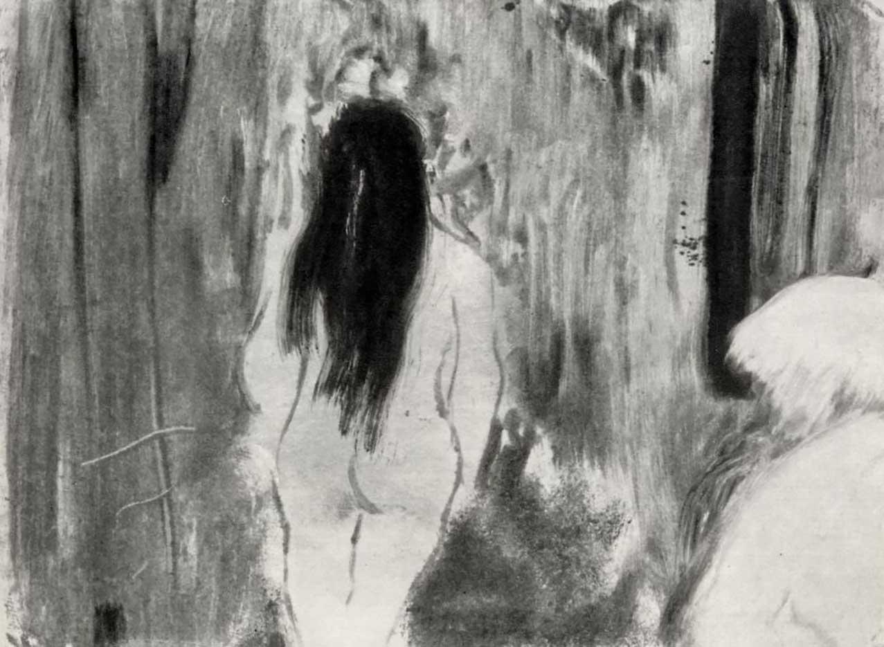 "Эдгар Дега (Edgar Degas), ""Обнаженная в комнате, фигура со спины "" (Drawings)"