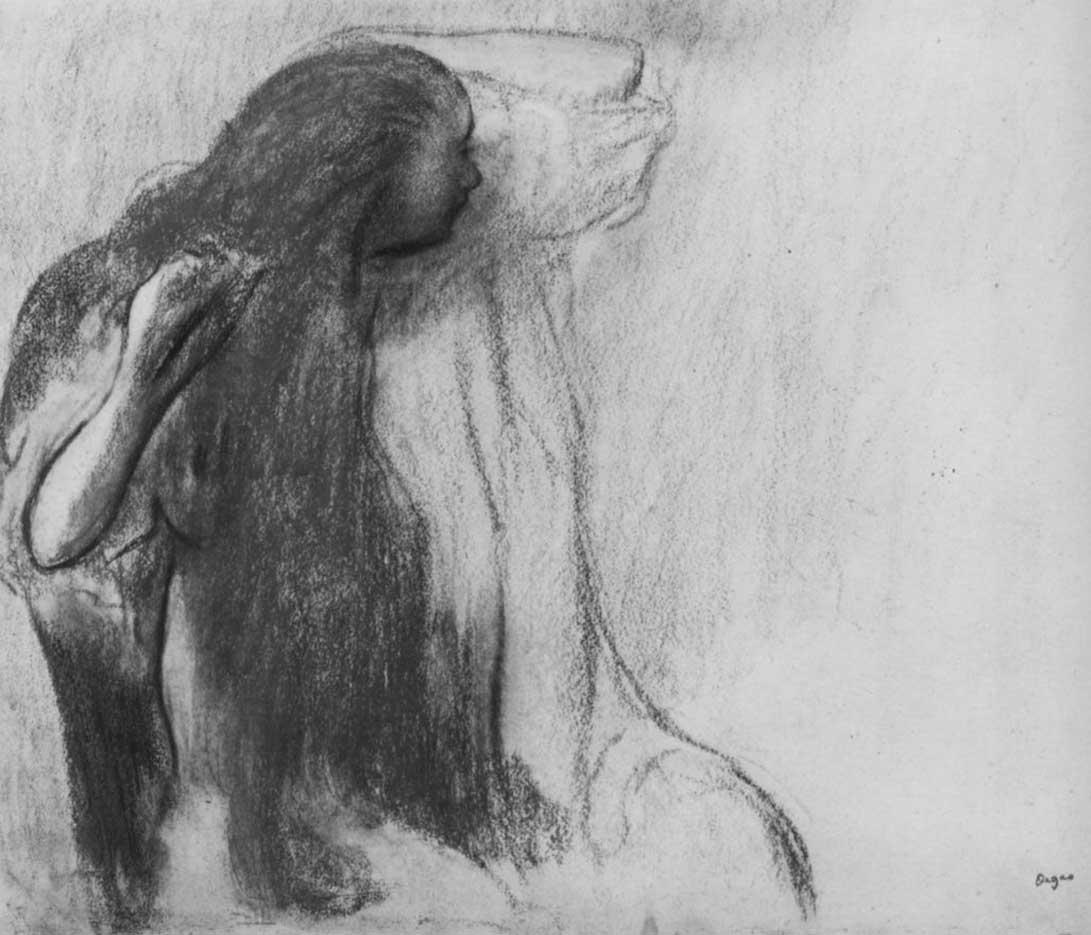 """Эдгар Дега (Edgar Degas), """"Сидящая девушка, расчесывающая волосы"""" (Drawings)"""