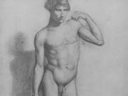 "Эдгар Дега (Edgar Degas), ""Натурщик с согнутой левой рукой"" (Drawings)"