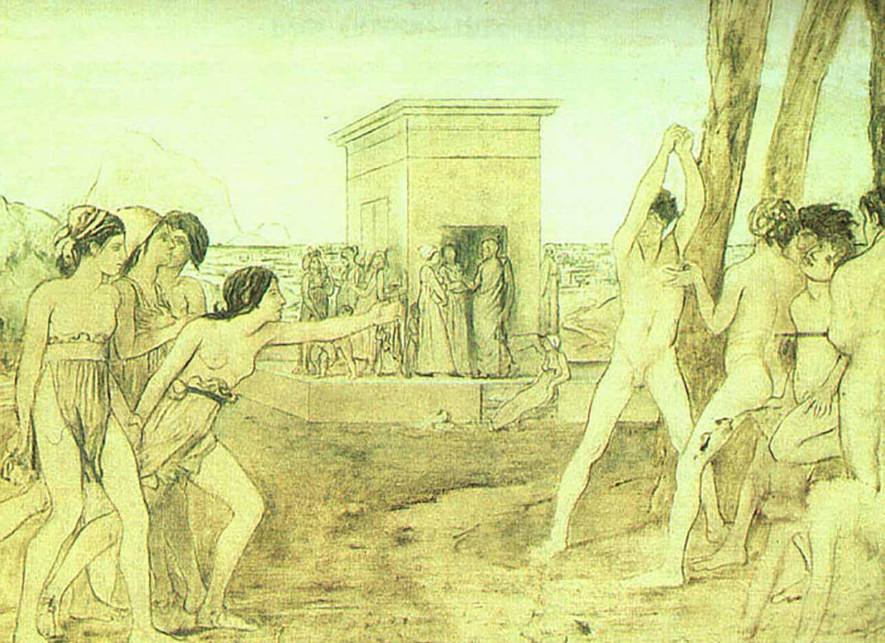 """Эдгар Дега (Edgar Degas), """"Молодые спартанцы (эскиз)"""" (Drawings)"""