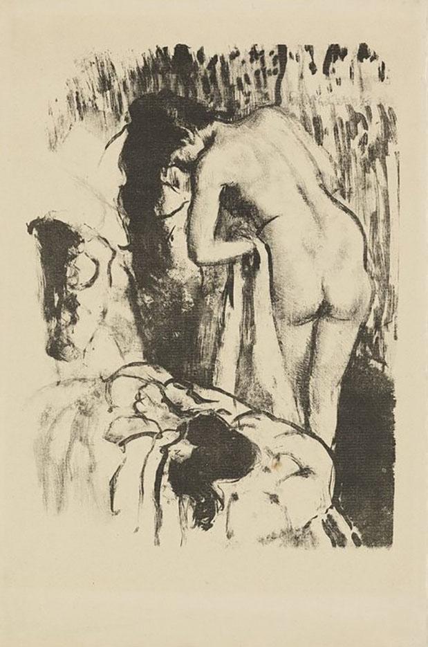 "Эдгар Дега (Edgar Degas), ""Обнаженная женщина вытирается"" (Drawings)"