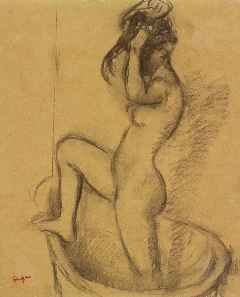 """Эдгар Дега (Edgar Degas), """"Женщина в ванне"""" (Drawings)"""