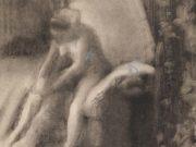 """Эдгар Дега (Edgar Degas), """"Сидящая на постели обнаженная, натягивающая чулки"""" (Drawings)"""