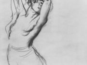 "Эдгар Дега (Edgar Degas), ""Обнаженная по пояс балерина с поднятыми руками"" (Drawings)"