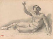 """Эдгар Дега (Edgar Degas), """"Обнаженный мужчина. Эскиз"""" (Drawings)"""