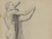 """Эдгар Дега (Edgar Degas), """"Обнаженный мужчина. Эскиз (2)"""" (Drawings)"""