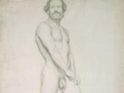"""Эдгар Дега (Edgar Degas), """"Обнаженный мужчина. Эскиз (3)"""" (Drawings)"""
