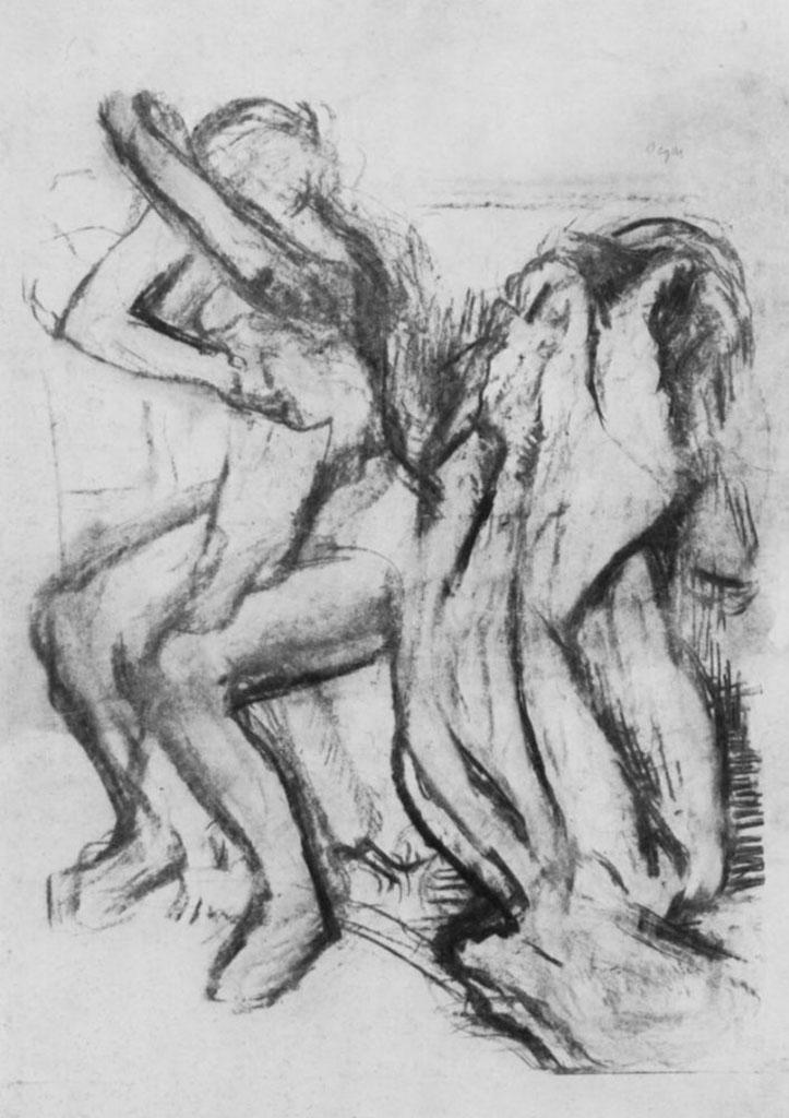 """Эдгар Дега (Edgar Degas), """"Сидящая вытирающаяся натурщица"""" (Drawings)"""