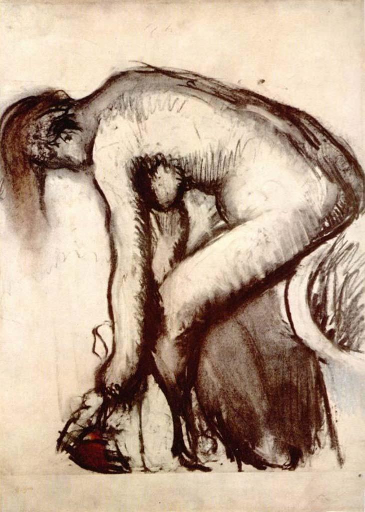 """Эдгар Дега (Edgar Degas), """"После ванны: обнаженная, вытирающая ноги"""" (Drawings)"""