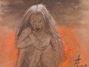 """Отто Дикс (Otto Dix) """"Mädchen auf rotem Tuch - Skizze zu """"Die Hexe"""""""