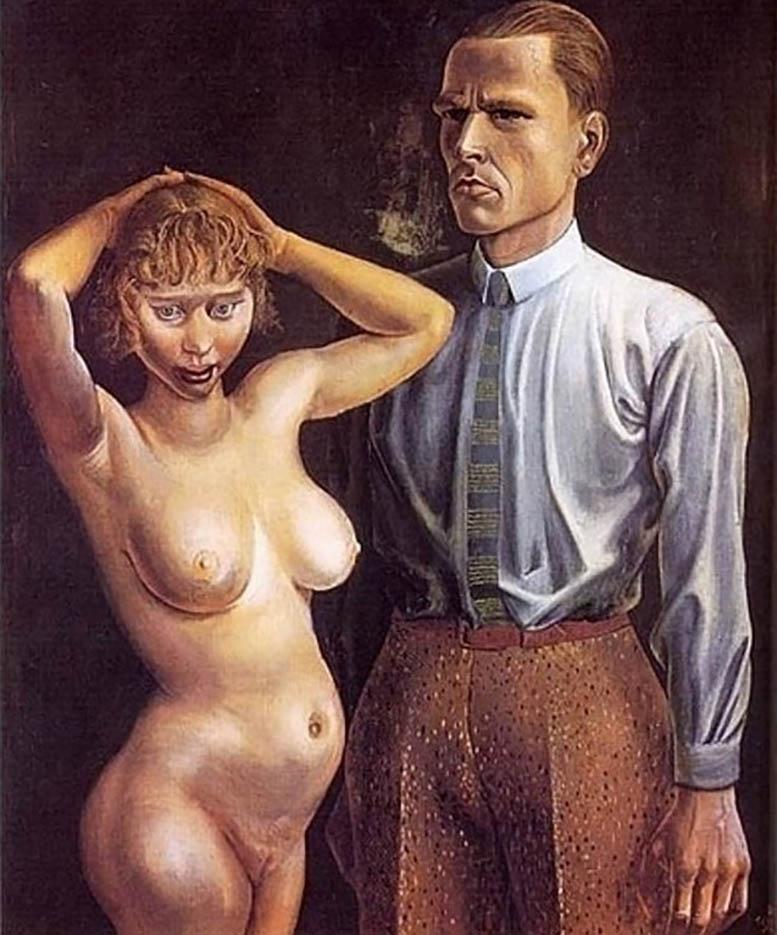 "Отто Дикс (Otto Dix) ""Self-Portrait With Nude Model"""