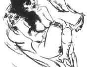 """Отто Дикс (Otto Dix) Drawing """"Reclining nude (sitting with cigarette)"""""""