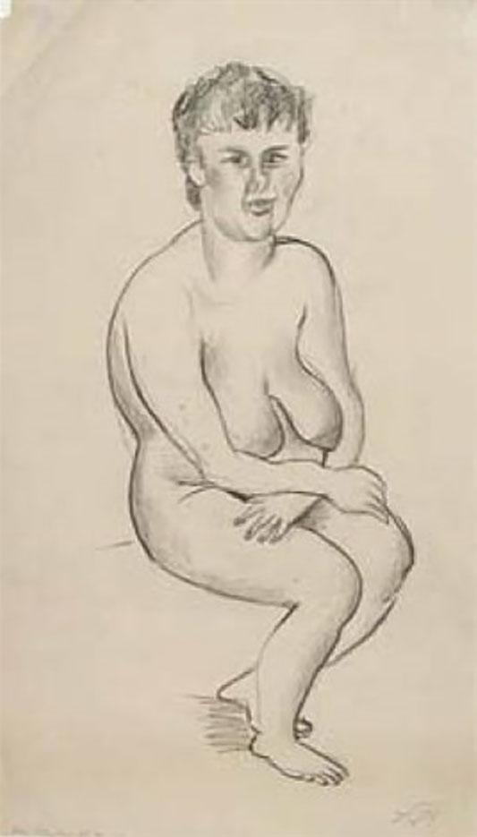 """Отто Дикс (Otto Dix) Drawing """"Sitzender Akt mit verschränkten Armen"""""""