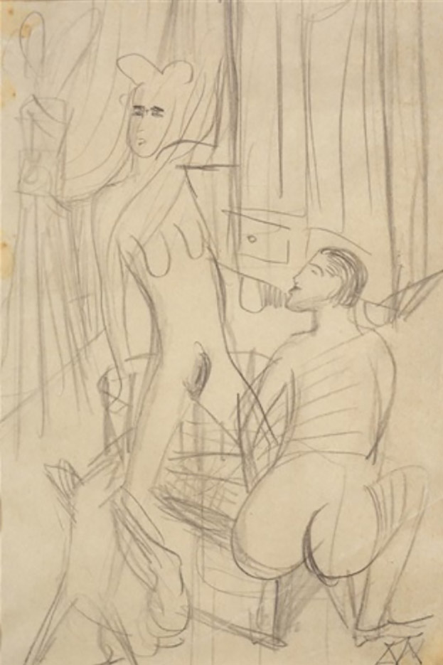 "Отто Дикс (Otto Dix) Drawing ""Study for Three Nudes"""